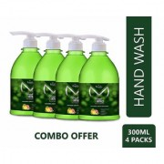 Mistpoffer Fresh Impact Antibacterial Perfumed Liquid Handwash with Citrus Cedarwood Pack of 4 (300 ml Each)