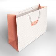 Ajándék papírzacskó fehér-rózsaszín uni