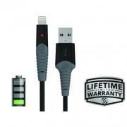 Cablu de incarcare si sincronizare mufa Lightning strikeLINE™ LED (Negru, 1m)