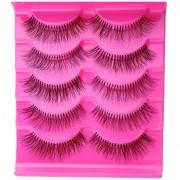 Duola 5 pares extensión cruzada Natural maquillaje pestañas postizas falsa larga gruesa suave