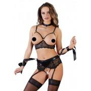 Cottelli Bondage - csipkés fehérnemű szett (5 részes) XL