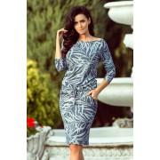 MyButik.pl Sukienka Sportowa Z Wiązaniem Niebieskie Jeansowe Liście S/M/L/XL