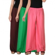 Culture the Dignity Women's Rayon Solid Palazzo Pants Palazzo Trousers Combo of 3 - Brown - Green - Baby Pink - C_RPZ_B2GP2 - Pack of 3 - Free Size