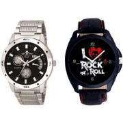 Classic I Love Rock N Roll Dial And Classical Black Dial Metal Belt SCK Men's Combo Watch