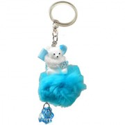 Faynci Love Blue Cute Doll Key Chain with Blue Twin Heart Shape with Diamond for Fashion Lover