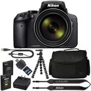 AOM Nikon COOLPIX P900 Digital Camera: with 83x Optical Zoom and Built-in Wi-Fi(Black) + 64GB 1200X SDXC Card + 2 EN-EL23 Batteries + Case + Flexible Tripod + Pro Bundle: International Version