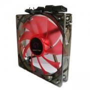 Охладител за кутия DELUX CF4 120 мм RED LED, Oil Bearing, 3PIN + big 4PIN, CF4_Red_VZ