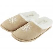 Merkloos Beige instap sloffen/pantoffels sneeuwvlok voor dames 41 - Sloffen - volwassenen