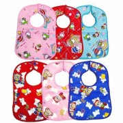 MOM SON Waterproof Baby Bibs in cotton with plastic back side for 3-18 Months - Set of 6 Pieces (Print May Vary)