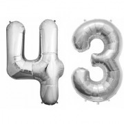 De-Ultimate Solid Silver Color 2 Digit Number (43) 3d Foil Balloon for Birthday Celebration Anniversary Parties