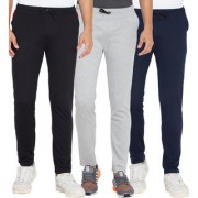 Cliths Black Light Grey And Navy Blue Slim Fit Solid Cotton Track Joggers for Men (Pack Of 3)