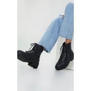 PrettyLittleThing Bottines noires chunky style randonneur à lacets, Noir - 41