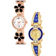 Varni Retail Blck Flower Belt And Gold Blue Round Dial Diamond Watc 2 Combo Watch For Girls