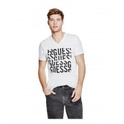 GUESS Mier Patchwork Logo Tee true white