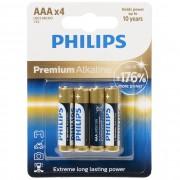 Philips Premium Alkaline LR03M4B/10 AAA mikro elem LR03 176% 4db/csomag