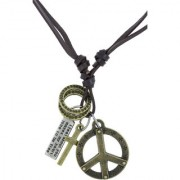 The Jewelbox Hip Hop Punk Peace Cross Bronze Vintage Antique Dog Tag Leather Pendant Chain For Boys Men