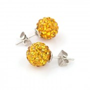 Cercei argint femei 10mm cristal Disco Ball Galben Gold cu surub