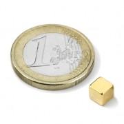 Magnet neodim cub, 5 mm, putere 1,2 kg, placat aur