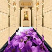 xbwy Custom 3D Floor Tiles Pvc Autoadhesivo Impermeable Wallpaper Etiqueta Púrpura Flores Mural Dormitorio Sala De Estar 3D-200X140Cm