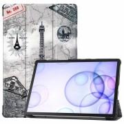Bolsa Fólio Inteligente Tri-Fold para Samsung Galaxy Tab S6 - Torre Eiffel