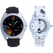 Goal Achived Art And White Peacock Feathers Couple Casual Analogue Wrist Watch By Taj Avenue