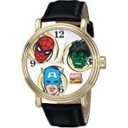 Marvel white4704 Marvel Men's W001762 Spider-Man, Hulk, Captain America Analog-Quartz Black Watch Watch - For Men