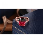 "Emerald-Cut Watermelon Tourmaline & 18K Rose Gold Ring By Peermont 7 25 4 ct 0.2"""" Emerald Statement Tourmaline Pink/Red/Yellow"
