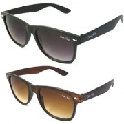 Silver Kartz Combo of 2 Wayfarer Unisex Sunglasses(scm01Black Brown)