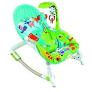BAYBEE Newborn Baby Portable Rocker Cum Bouncer with Soothing Vibration and Musical Toy (Green and Blue)