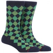 Soxytoes Diamonds Are Forever Blue Cotton Calf Length Pack of 1 Pair Argyle for Men Formal Socks (STS0020B)