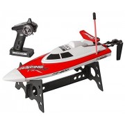 Top Race Remote Control Water Speed Boat, Perfect Toy for Pools and Lakes Blue 27Mhz (TR-800) (Red)