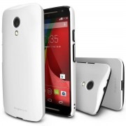 Husa Protectie Spate Ringke Slim White plus folie protectie pentru Motorola Moto G 2014