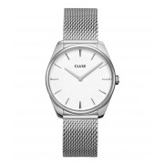 CLUSE Horloges Feroce Mesh Silver Plated White Zilverkleurig