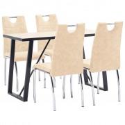 vidaXL Set mobilier bucătărie, 5 piese, crem, piele ecologică