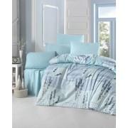 Lenjerie de pat din bumbac cu 4 fete de perna Valentini Bianco VKR10 Turqouise