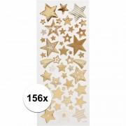 Merkloos Gouden sterren stickers 156 stuks