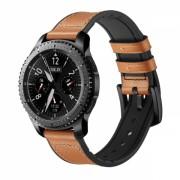 Curea 22mm dual piele naturala si silicon pentru Samsung Gear S3 Classic / Frontier / Watch 46, cu telescop QuickRelease, maro