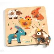 Drewniane puzzle z uchwytem Hihan& Co, układanka zwierzęta z gospodarstwa DJECO DJ01016