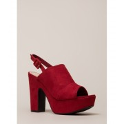 CheapChic Hit My Groove Chunky Peep-toe Platforms Red