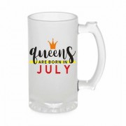 Crazy Sutra Funny and Cool Quote Queen Are Born In July Printed Frosted Glass Beer Mug for Friends/Brother/Boyfriend (500ml)