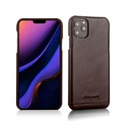 PIERRE CARDIN Genuine Leather Skin Phone Cover for Apple iPhone 11 Pro 5.8 inch - Coffee