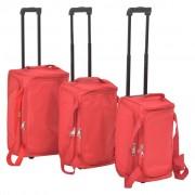 vidaXL Conjunto de malas de viagem 3 pcs vermelho