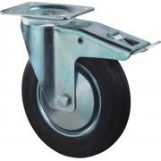 Kelfort Zwenkwiel met plaat 155mm, Met rem. Zwart rubber loopvlak