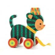 DJECO Drewniany kotek do ciągnięcia, na sznurku - przyjaciel pierwszych spacerów, DJ06233