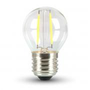 LED lámpa , égő , Filament , körte , E27 foglalat , G45, 4 Watt , meleg fehér
