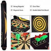 Vini Toys Latest Roll-up Magnetic Dart Board Set 15 inch Double Sided Hanging Wall Dartboard with 6 Safety Darts Needles