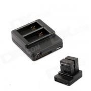 Cargador inteligente dual + bateria 1050mAh para gopro hero 3 + / 3 - negro