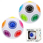 Aboat 2 Pieces Puzzle Balls Magic Rainbow Ball Cube Rolling 3D Educational Toys