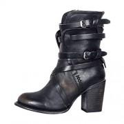 cobcob Clearance Shoes Botas de Vaquero para Mujer, con Cierre, Puntera Puntiaguda, Estilo clásico, tacón Alto, cómodas, de Piel, para Tobillo, Cortas, Negro, 6, 1