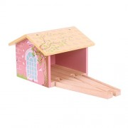 Bigjigs Rail Pink Double Engine Shed - Other Major Wooden Rail Brands are Compatible
